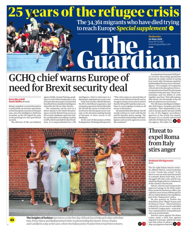 Guardian front page - 20/06/18