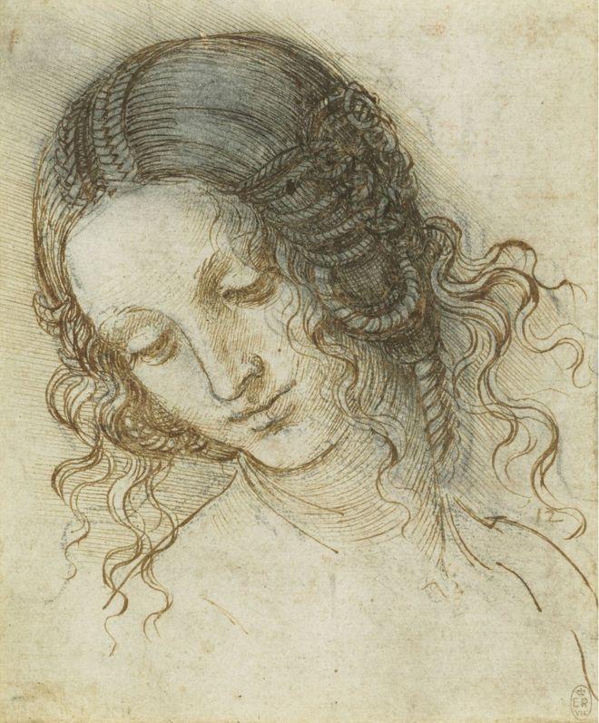 The drawing The head of Leda by Leonardo Da Vinci