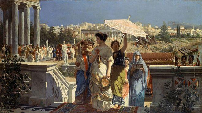 Ilustração de uma cena da Roma antiga