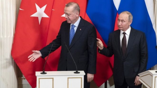 Turkish President Recep Tayyip Erdogan (left) and Russian President Vladimir Putin in Moscow. Photo: 5 March 2020