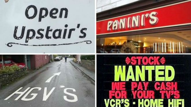 Pictures of apostrophe misuse