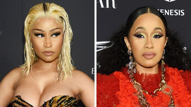 Nicki Minaj (l) and Cardi B (r)