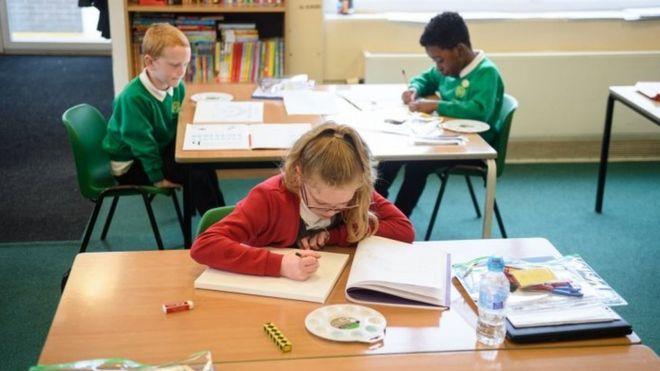 Children at school desks