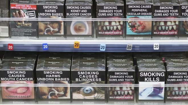 Cigarettes on a shop shelf in Sydney, New South Wales, May 2016