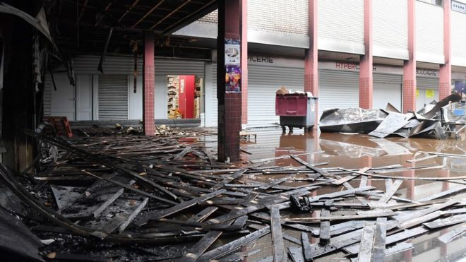 Promo & Destock store, a French kosher grocery store in Creteil, south of Paris, after it was destroyed in an arson attack