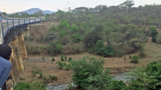 A man looking out of a Tazara train travelling from Tanzania to Zambia