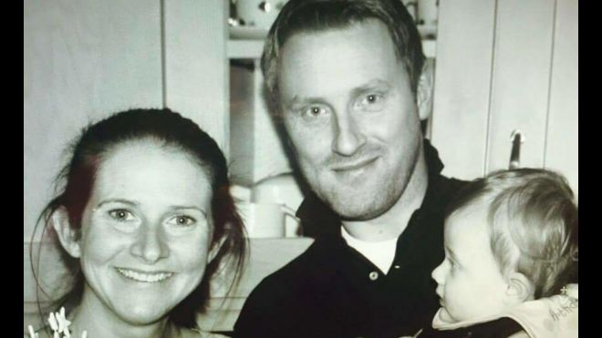 Rhian Burke with her late husband Paul and late son George