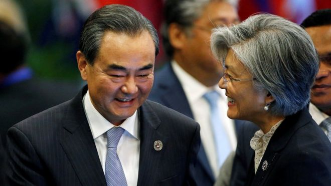 中国外交部长王毅与韩国外长康京和