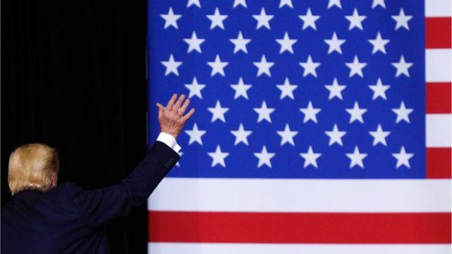 Дональд Трамп на фоне флага США