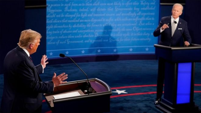 US President Donald Trump and Democratic presidential nominee Joe Biden participate in their first 2020 presidential campaign debate