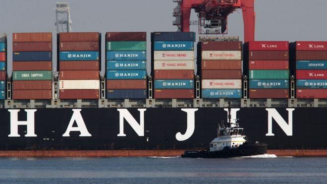 Hanjin Louisiana docks in Singapore with British cadets on
