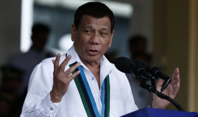 Philippine President Rodrigo Duterte pictured in the Philippines on 20 December 2017.