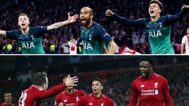 efc7b336 Tottenham and Liverpool celebrate their Champions League semi-final wins