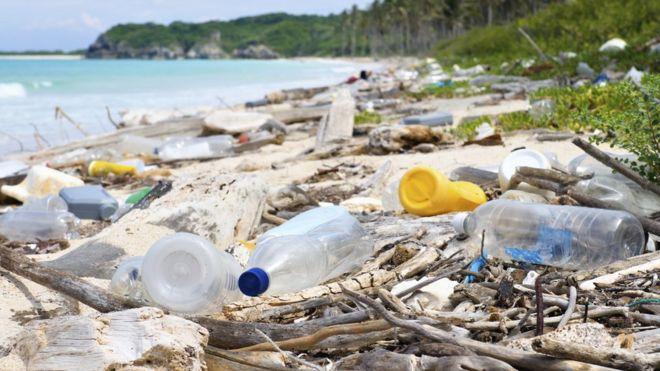 Plástico em praia do Caribe