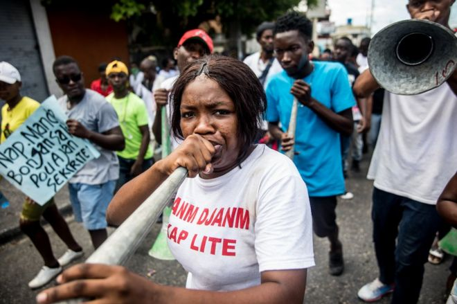 A protester in Haiti