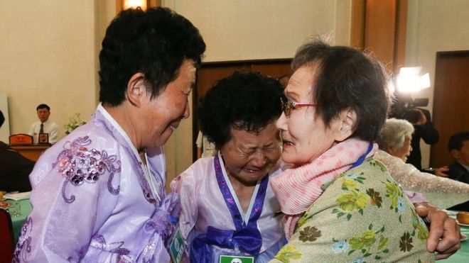South Korean Han Shin-Ja, 99 (R), meet with her North Korean daughters Kim Kyung-Sil, 72, and Kim Kyung-Young, 71,