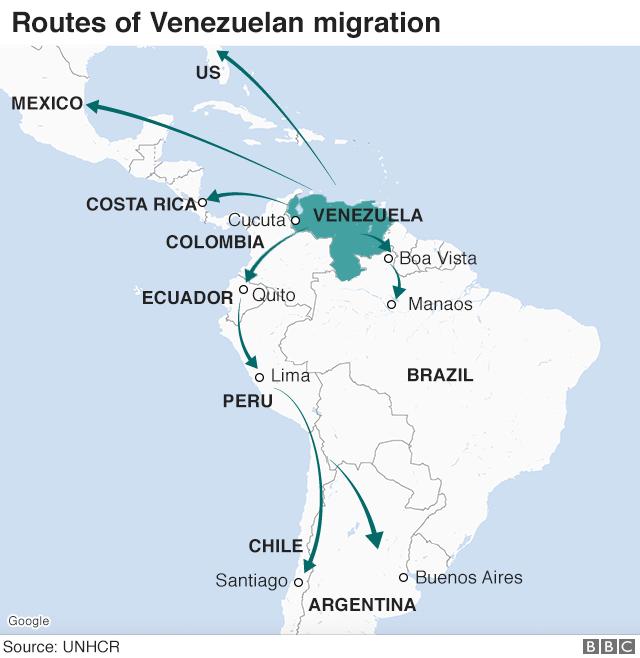Карта с указанием маршрутов эмиграции