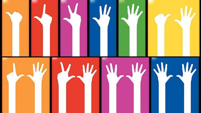 Mãos mostrando os números