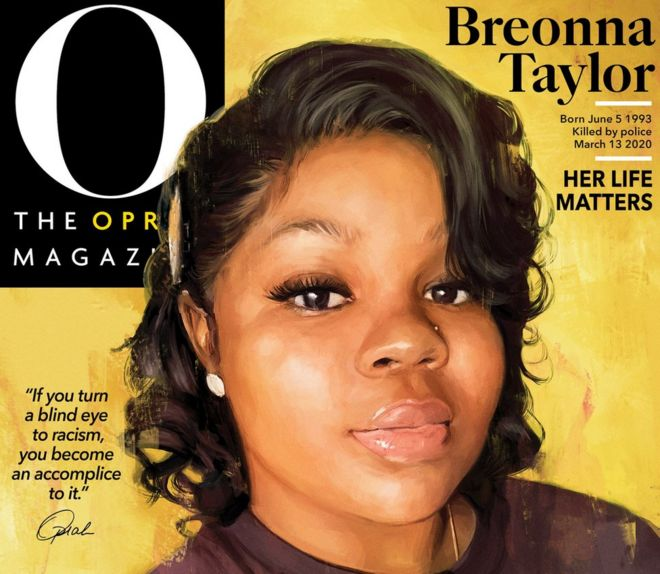 The cover of September's edition of the Oprah Magazine, featuring a photo of Breonna Taylor