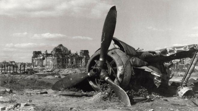 A plane shot down near the Reichstag in Berlin 1945