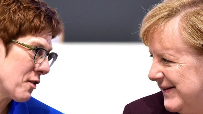 German Chancellor Angela Merkel (R) talks to party chairwoman Annegret Kramp-Karrenbauer during the Christian Democratic Union (CDU) party congress in Leipzig, Germany, 22 November 2019