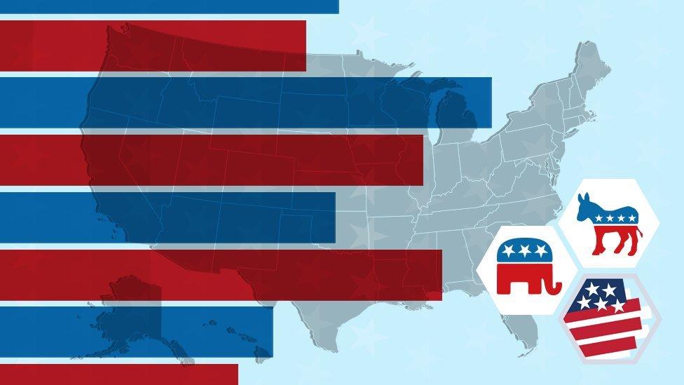Ilustração com mapa dos EUA, suas cores e os símbolos dos principais partidos