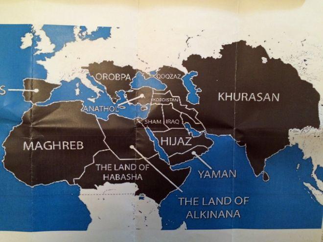 هدف داعش گرفتن همه مناطق سیاه در نقشه بود. این مناطق در تاریخ تحت تسلط خلفای اسلام و بعد امپراتوری عثمانی بوده است