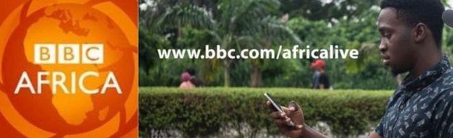 Составное изображение, показывающее логотип BBC Africa и человека, читающего на своем смартфоне.