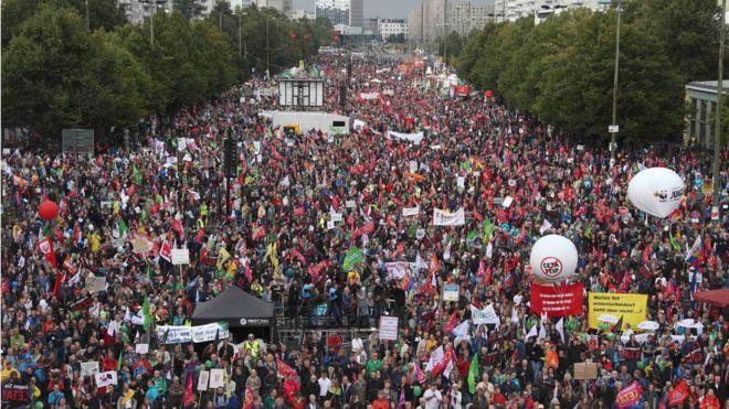 Protests In Germany Against Transatlantic Ttip And Ceta Trade Deals