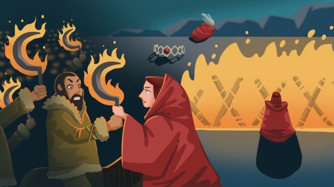 Ilustração do momento em que Melisandre ilumina armas dos dothraki com fogo