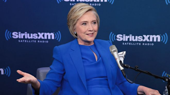 Former Secretary of State Hillary Clinton joins SiriusXM for a town hall event hosted by Zerlina Maxwell at SiriusXM Studios in New York City.