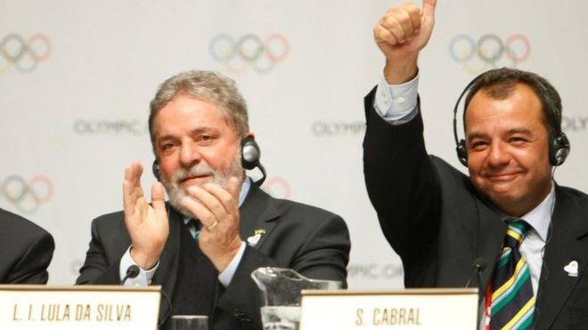 President of the Brazilian Olympic campaign, Carlos Nuzman, Brazilian President Luiz Inacio Lula da Silva of Brazil and Rio de Janeiro Governor Sergio Cabral celebrating after wining the bid in 2009