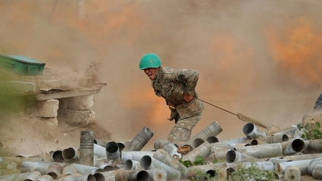Armenian Defence Ministry photo shows Armenian soldier during clashes with Azeribaijani forces. 30 Sept 2020