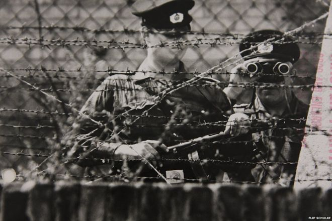 German soldiers at the Wall, circa 1960s