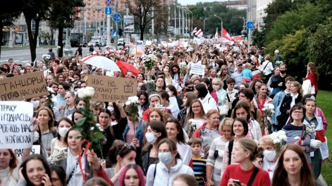 Women take part in a demonstration against police brutality following recent protests to reject the presidential election results in Minsk, Belarus, 29 August 2020
