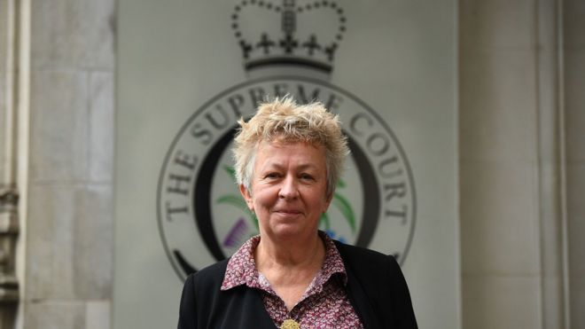 Claire Gilham outside the Supreme Court on 16 October 2019