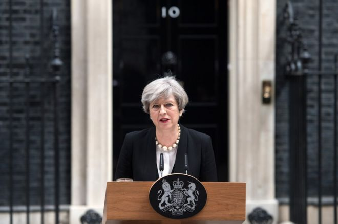 Prime Minister Theresa May addresses the media as she makes a statement in Downing Street following a COBRA meeting to discuss the government's response to the Manchester attack, on 23 May 2017 in London
