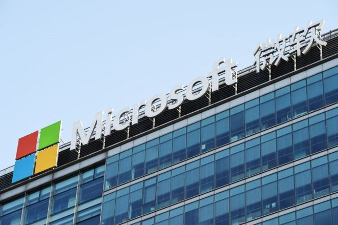 A Microsoft logo is displayed outside Microsoft Research Asia (MSRA), Microsoft's fundamental research arm in the Asia Pacific region and the company's largest research institute outside the United States, at Zhongguancun on May 9, 2019 in Beijing, China.