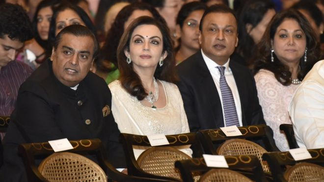 Chairman, Managing Director of Reliance Industries Limited Mukesh Ambani, his wife Nita Ambani, brother and Chairman of Reliance Group Anil Ambani and his wife Tina Ambani during the Padma Awards Investiture ceremony at Rashtrapati Bhawan on March 28, 2016 in New Delhi, India