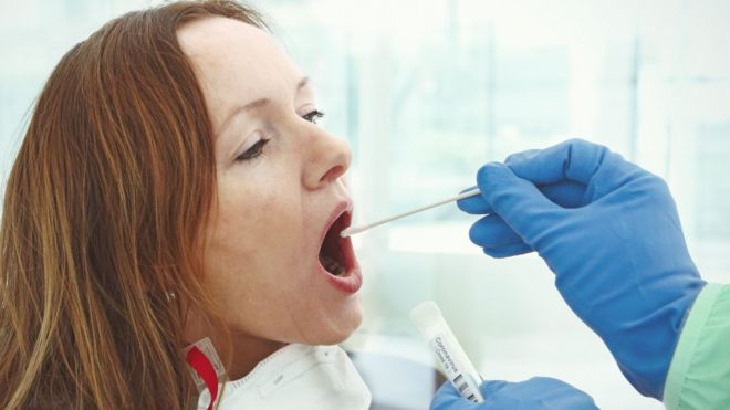 woman having a swab test
