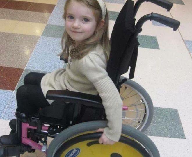 Ruby Hamilton in her wheelchair