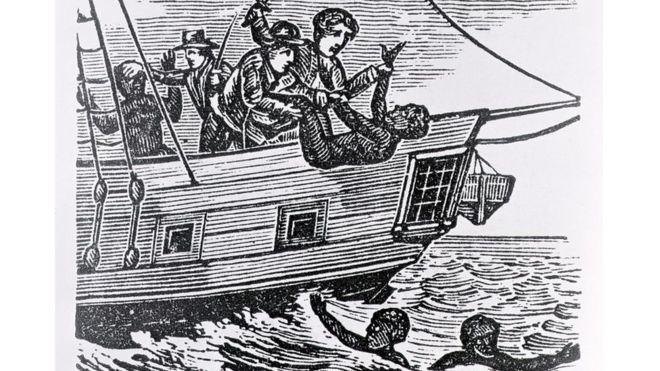 Ilustração de marinheiros jogando pessoas escravizadas ao mar de navio