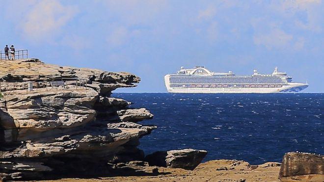 The Ruby Princess cruise ship sails off the coast of Sydney, Australia, 04 April 2020