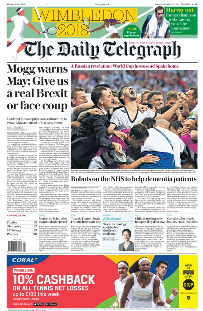 Daily Telegraph front page - 02/07/18