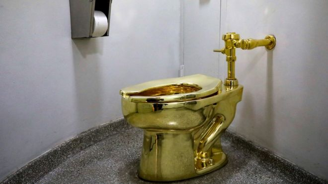 toilet made of gold. Solid Gold Toilet At New York S Guggenheim Museum Golden  Sculptures Made From Weird Things CBBC Newsround