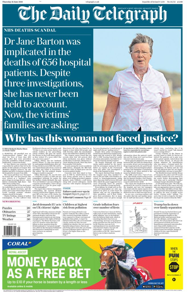 Daily Telegraph front page - 21/06/18