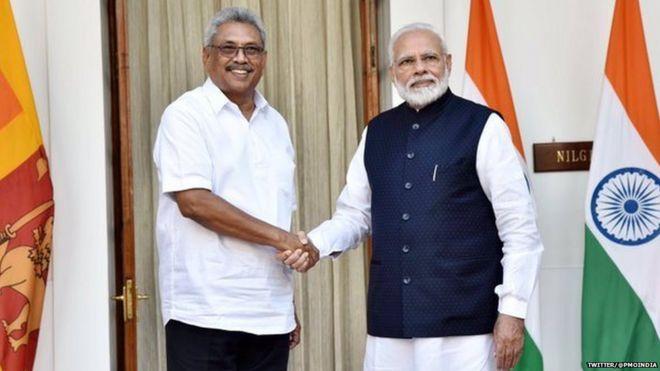 PM Narendra Modi shaking hands with Rashtupati Gotabhaya Rajapaksa