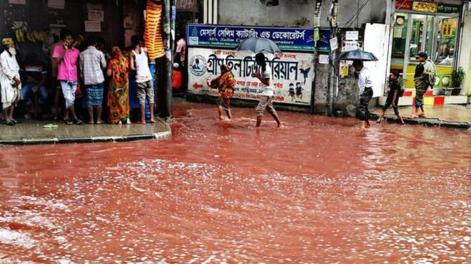 Le sang d'animaux sacrifiés pour la célébration de l'Aïd (fête musulmane) dans les rue de Dakha, la capitale du Bangladesh