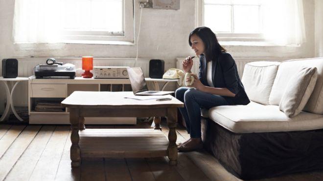 woman sitting in flat