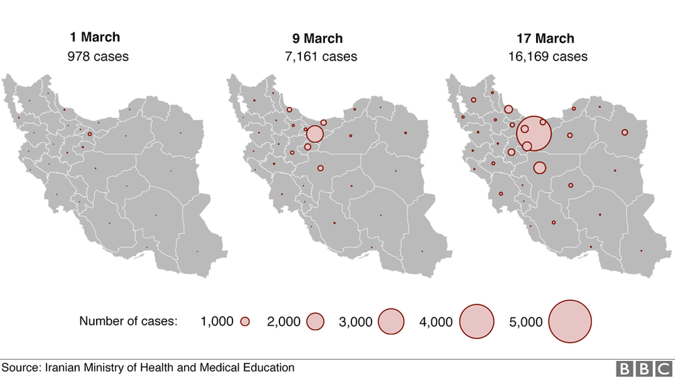 Graphic showing number of cases over time increasing across all 31 provinces in Iran